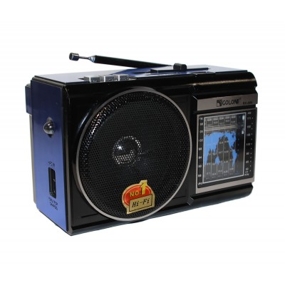 MP3 плеер Colon RX-080, Black/Blue, 3 Вт, FM, USB, SD, 2x'D' / 220V, фонарик