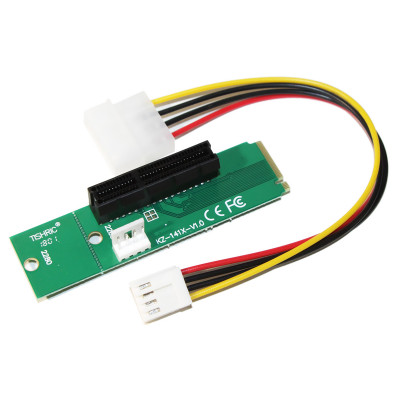 Адаптер Dynamode PCI-E 4x Female to NGFF M.2 M Key Male, Power Cable 4 Pin to Molex 20 cm