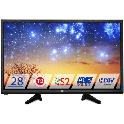 Телевизор 28' DEX LE2855ТS2, LED HD 1366x768 50Hz, DVB-T2, HDMI, USB, VESA (200x100)