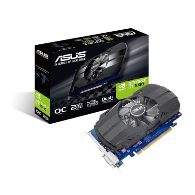 Видеокарта GeForce GT1030, Asus, OC, 2Gb DDR5, 64-bit, DVI/HDMI, 1531/6008MHz (PH-GT1030-O2G)