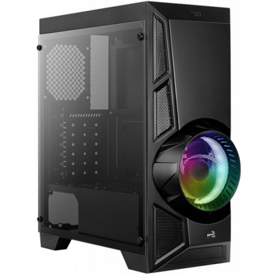 Корпус Aerocool 'PGS' AeroEngine, Black, Mid Tower, без БП, 0,5 мм, для ATX / micro ATX / mini-ITX, 2 x USB2.0 + 1 x USB3.0 + HD Audio   Mic, 195 x 447 x 471.8mm, 4,1 кг (1x120 мм Fan в комплекте) (4718009156371)