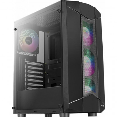 Корпус Aerocool 'PGS' Sentinel-G-BK-v1, Black, Middle Tower, без БП, 0,5 мм, для ATX / micro ATX / mini-ITX, 2 x USB2.0 + 1 x USB3.0 + HD Audio   Mic, 218 x 445 x 387mm, 5,07кг (4x120 мм Fan в комплекте) (4718009158696)
