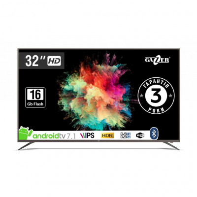 Телевизор 32' Gazer TV32-HS2G LED HD 1366x768 60Hz, Smart TV, HDMI, USB, Vesa (200x100)