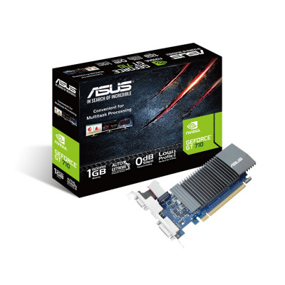 Видеокарта GeForce GT710, Asus, 1Gb DDR5, 32-bit, VGA/DVI/HDMI, 902/5010MHz, Silent, Low Profile (GT710-SL-1GD5-BRK)